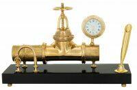 """Письменный прибор с часами """"Газовая труба"""""""