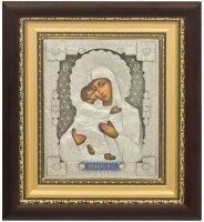 Владимирская икона Пресвятой Богородицы посеребренная