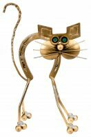 "Скульптура бронзовая ""Кошка-подкова"""