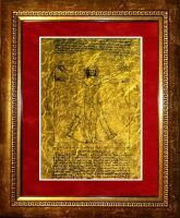 "Картина на сусальном золоте Леонардо Да Винчи ""Витрувианский Человек"""