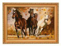 "Картина из янтаря ""Бегущие лошади"""