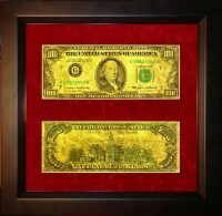 """Картина на сусальном золоте """"Купюра 100 долларов"""""""
