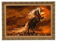 """Картина из янтаря """"Белогривый конь"""""""