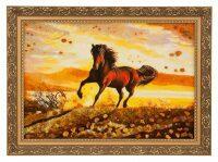 """Картина из янтаря """"Лошадь"""" (закат)"""