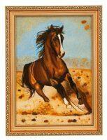 "Картина из янтаря ""Бегущая лошадь"""