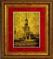 """Картина на сусальном золоте """"Кремль. Спасская башня"""""""