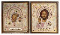 """Венчальная пара икон """"Спаситель и Богоматерь"""", прорезное шитье"""