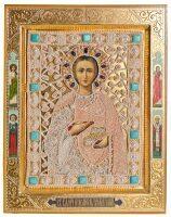 """Икона """"Святой Пантелиимон с предстоящими"""", с сусальным золотом"""
