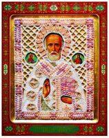 """Икона """"Николай чудотворец с праздниками"""", с сусальным золотом, прорезное шитье"""