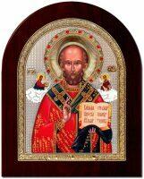"""Икона """"Святой Николай"""" открытый лик и облачение серебро с позолотой, инкрустация камнями"""