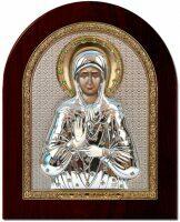 """Икона """"Святая Блаженная Матрона"""" открытый лик серебро с позолотой инкрустация камнями"""