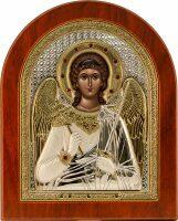 """Икона """"Ангел Хранитель"""" открытый лик серебро  с позолотой, инкрустация камнями"""