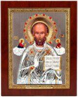 """Икона """"Святой Николай"""" открытый лик, серебро с позолотой, с камнями"""