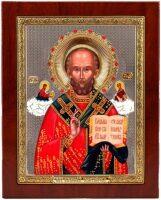 """Икона """"Святой Николай"""" открытый лик и облачение, серебро с позолотой, с камнями"""