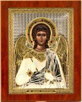 """Икона """"Святой Ангел Хранитель"""" открытый лик, серебро с позолотой, с камнями"""