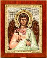 """Икона """"Святой Ангел Хранитель"""" открытый лик и облачение, серебро с позолотой, с камнями"""
