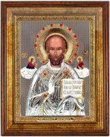 """Икона """"Святой Николай"""" открытый лик, серебро с позолотой, с камнями, в рамке со стеклом"""