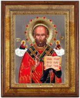 """Икона """"Святой Николай"""" открытый лик и облачение, серебро с позолотой, с камнями, в рамке со стеклом"""