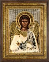 """Икона """"Ангел Хранитель"""" открытый лик, серебро с позолотой, с камнями, в рамке со стеклом"""