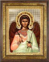 """Икона """"Ангел Хранитель"""" открытый лик и облачение, серебро с позолотой, с камнями, в рамке со стеклом"""