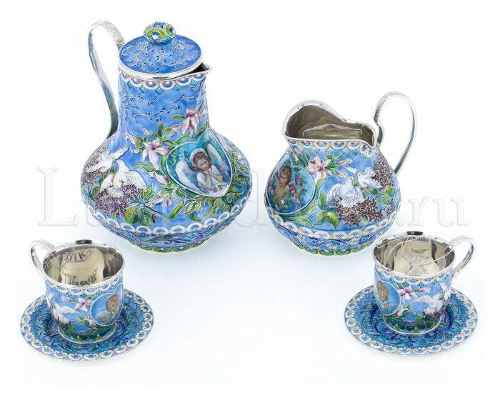 """Набор для кофе """"Расписной"""" (финифть)- 0"""