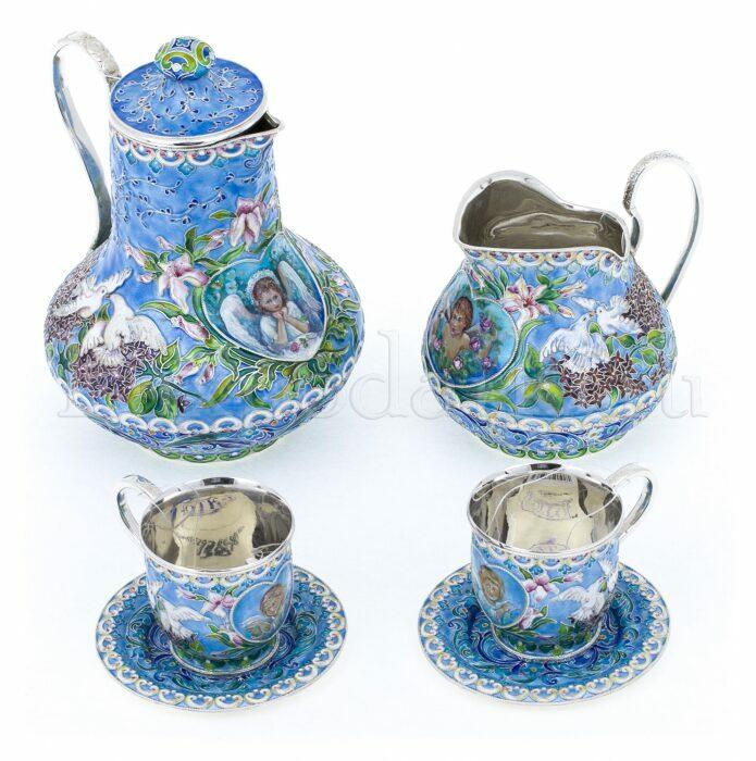 """Набор для кофе """"Расписной"""" (финифть)- 1"""
