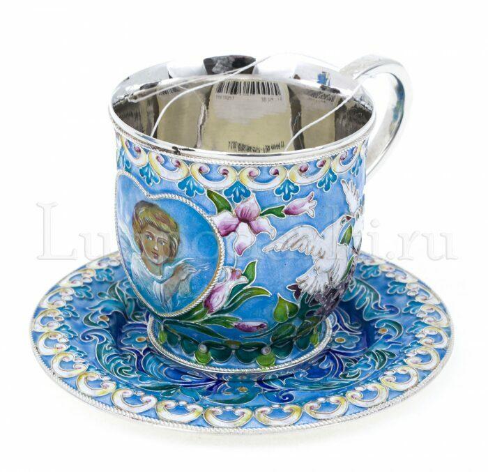 """Набор для кофе """"Расписной"""" (финифть)- 5"""