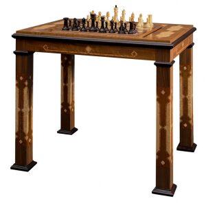 """Стол шахматы-нарды с фигурами """"Стаунтон Люкс"""" (самшит/венге)"""