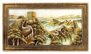 """Объемная картина из янтаря """"Великая Китайская стена"""""""