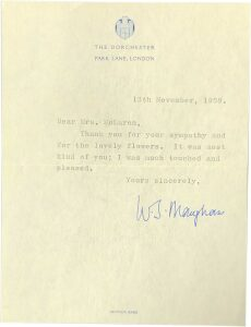 Письмо с автографом Сомерсета Моэма