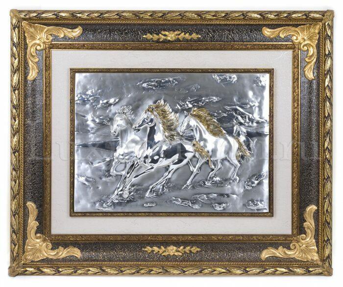 """Панно  Arte Casa """"Тройка коней"""" , серебряного цвета- 0"""