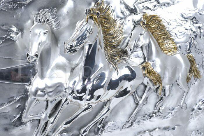 """Панно  Arte Casa """"Тройка коней"""" , серебряного цвета- 2"""