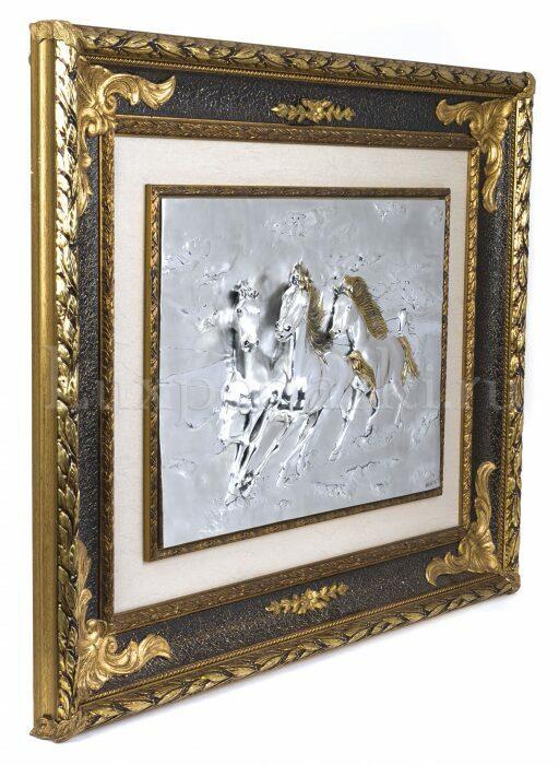 """Панно  Arte Casa """"Тройка коней"""" , серебряного цвета- 1"""