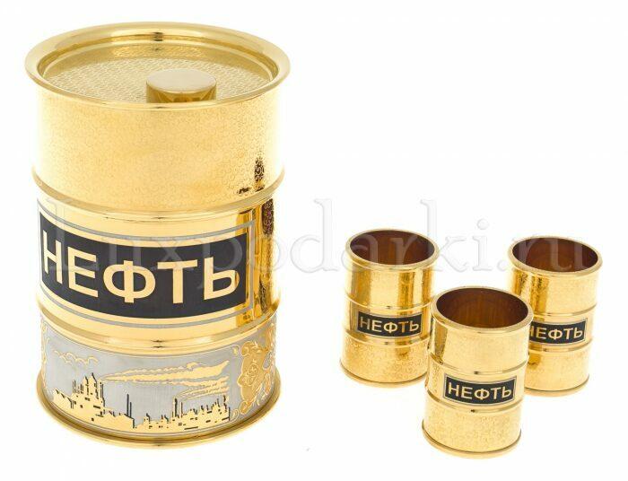 """Набор для водки на 3 персоны """"Нефть"""" (Златоуст)- 1"""