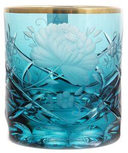 "Набор бокалов для виски  Arnstadt Crystal ""Роза""  бирюза"