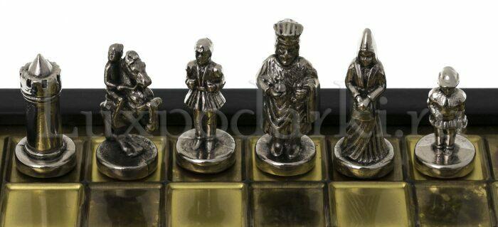 """Шахматы-ларец сувенирные """"Византийская империя"""" мини (коричневая доска, фигуры - золото, серебро)- 2"""