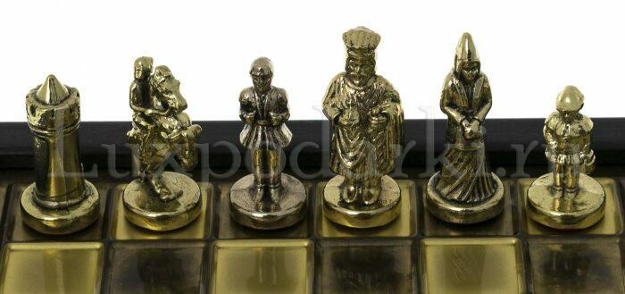 """Шахматы-ларец сувенирные """"Византийская империя"""" мини (коричневая доска, фигуры - золото, серебро)- 3"""