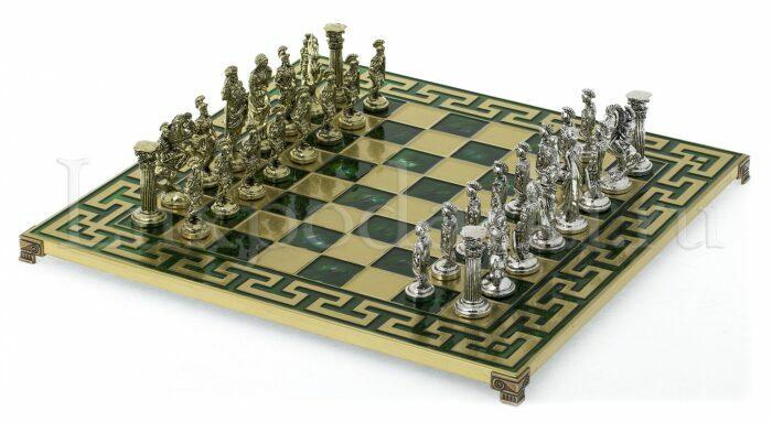 """Шахматы сувенирные """"Римляне"""" (орнамент Т-образный, зеленый)- 0"""