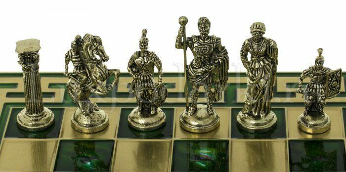 """Шахматы сувенирные """"Римляне"""" (орнамент Т-образный, зеленый)- 1"""