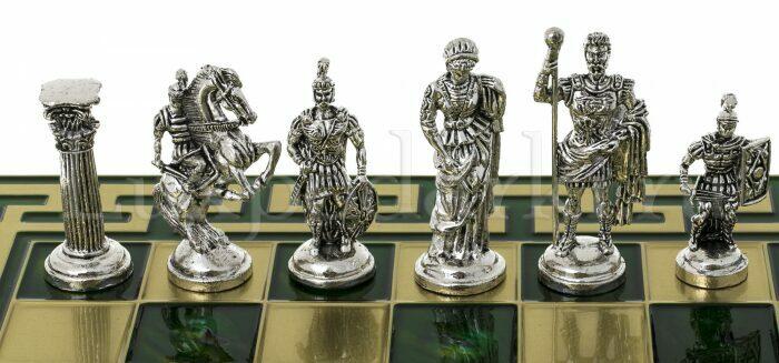 """Шахматы сувенирные """"Римляне"""" (орнамент Т-образный, зеленый)- 2"""