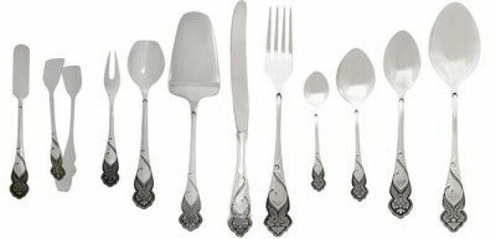 Набор столовый из серебра (12 предметов)- 0