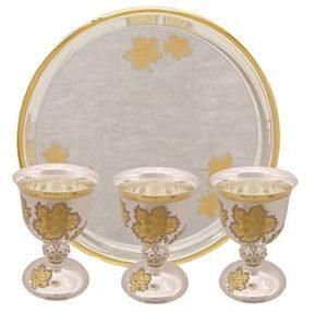 """Набор винный """"Цветы"""" (6 персон) из серебра, белый+желтый"""