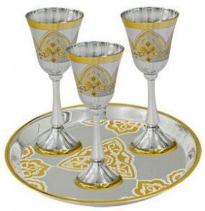 Набор винный из серебра с золочением, белый+желтый (4 предмета)