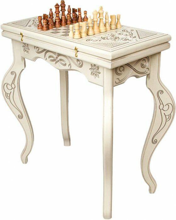 """Шахматный стол """"Симфония"""" белый- 0"""