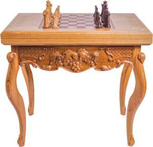 """Шахматный стол резной """"Изобилие"""""""