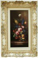 """Картина  Bertozzi Cornici """"Цветы"""" , рамка цвета сл.кости с золотой отделкой"""