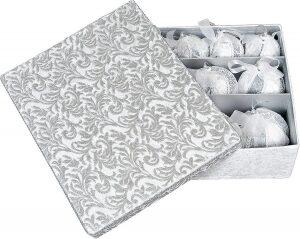 """Набор ёлочных шаров  Haute Couture """"Вьюга""""  из 12 шаров (серебро)"""