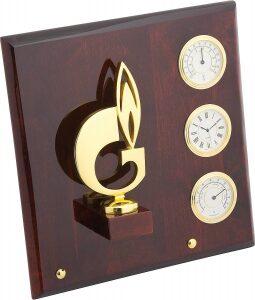 """Плакетка  Linea del Tempo """"Символ газа""""  (часы, термометр. гигрометр) золотой"""