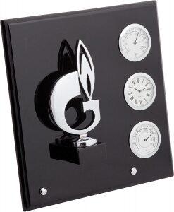 "Плакетка  Linea del Tempo ""Символ газа""  (часы, термометр. гигрометр) серебряный"