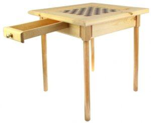 Стол шахматный светлый с ящиком (прямые ножки)